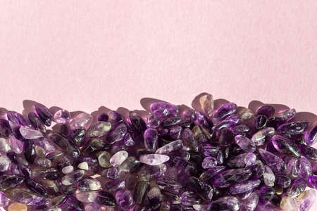 Crystal minerals on pink background. Magic Rock for Healing stones.