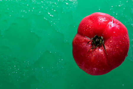 Ripe tomato on a green background with water drops. Top view.