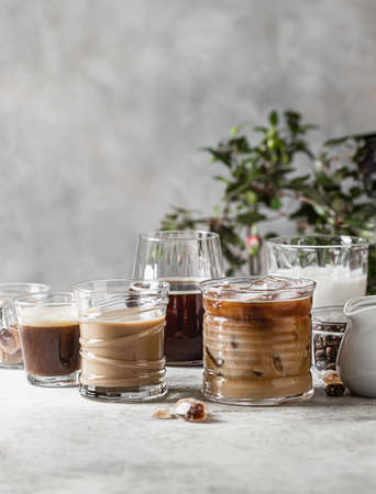 Tasty ice coffee with milk, cream and set with different types of coffee drinkson gray background with copy space. Ice coffee with milk, espresso, cappuccino and mocha coffee. Cold summer drink. Imagens