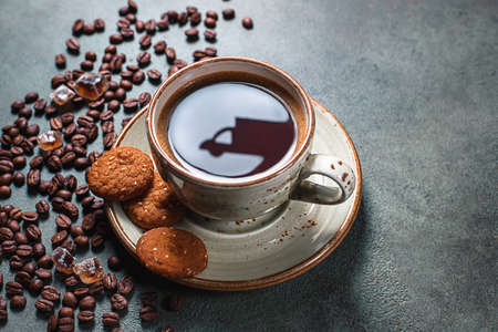 Reflections of a delivery car on a cup of coffee. Online shopping. Concept of delivery services, logistics, cargo delivery. Food delivery background concept.