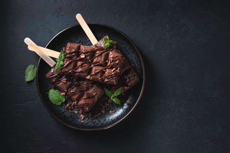 Homemade chocolate ice cream on dark background. Selective focus