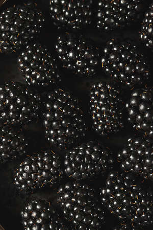 Fresh ripe blackberries as background, top view. Food concept. Blackberries decorated with edible gold powder. Top view.
