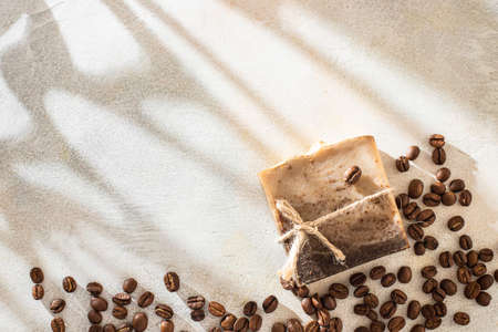 Organic lye soap. Concept of home natural organic skin care. Spa treatments.Handmade soap bars with coffee used as gentle scrub. Selective focus Banque d'images