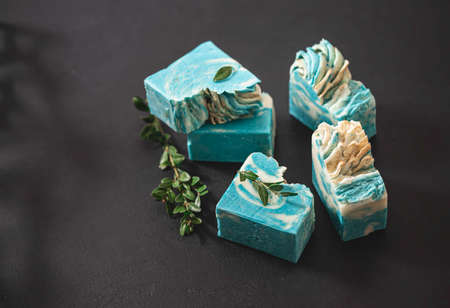 Fragrant handmade natural eco soap. Healthy skin. Cosmetic soap made from natural ingredients. Copy space, selective focus.