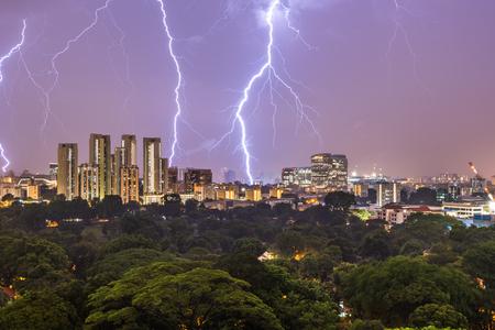 Singapore Lightning Skyline Night Foto de archivo