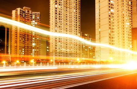 Megacity Highway at night with light trails in shanghai china. Stock Photo - 10758182