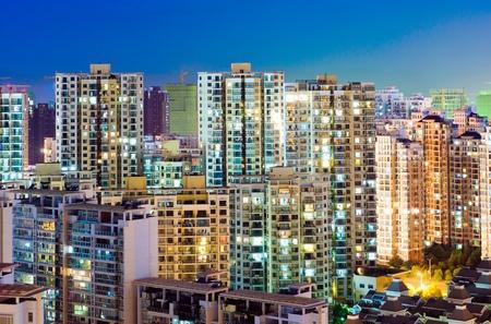 apartment building at night(Hong Kong) photo