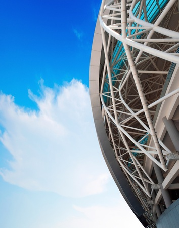 olympic stadium: Blue sky and white clouds, the stadium steel structure of the local.  Editorial