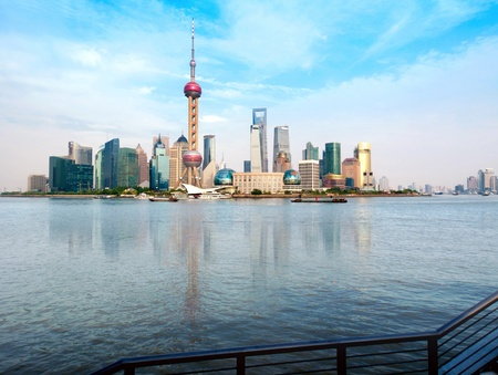 china landscape: Shanghai city view, with oriental pearl tower, landmark of Shanghai, beside huangpu riv Editorial