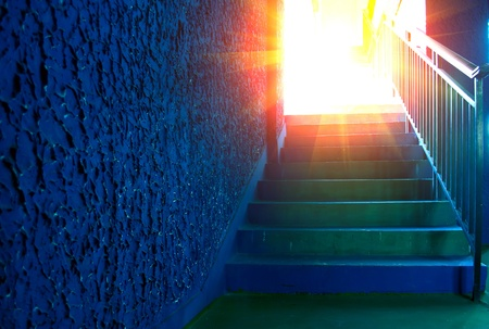 Paradise road, stair leads to the sky.  Stock Photo