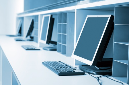 computers and communications: Modern computer room Stock Photo