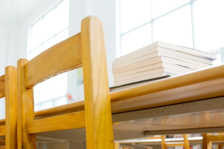 class room: Library shelves, a large number of books. Stock Photo
