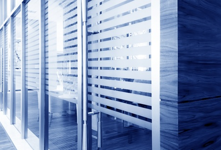 glass door: office corridor door glass partitions room business