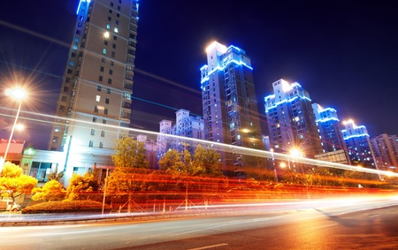 Megacity Highway at night with light trails in shanghai china. Stock Photo - 10874343