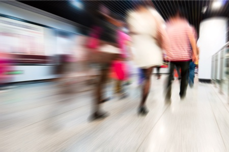blur subway: abstract zooming passengers in subway Stock Photo