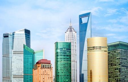 pu: Shanghai city view, with oriental pearl tower, landmark of Shanghai, beside huangpu riv Editorial