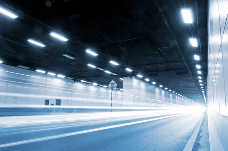 road at night: The tunnel at night, the lights formed a line.