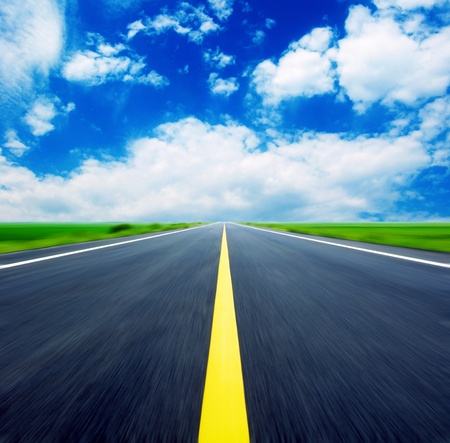 roadways: Blue sky, the endless highway.