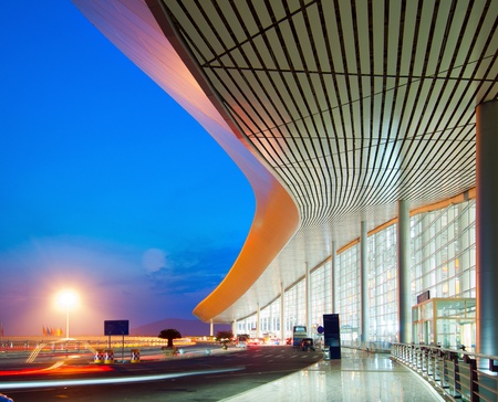 pudong: Modern architecture at night, China Shanghai pudong airport. Editorial