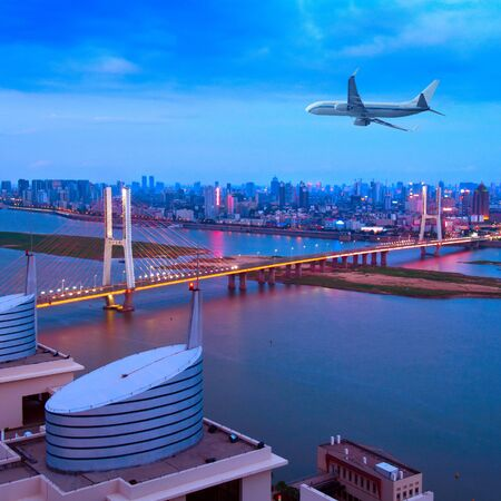 developed: Bridges and aircraft, three-dimensional transport. Stock Photo