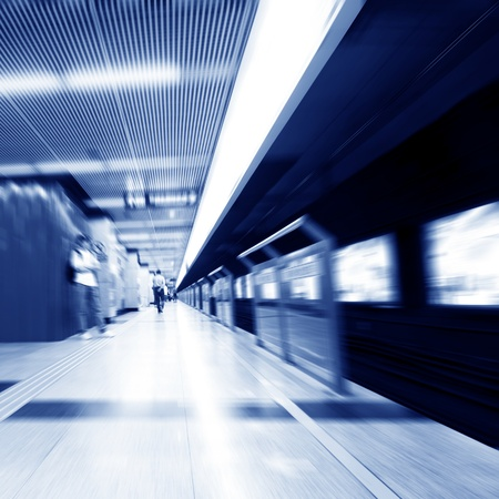 zooming: abstract zooming passengers in subway Stock Photo