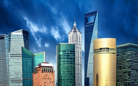pu dong: Shanghai city view, with oriental pearl tower, landmark of Shanghai, beside huangpu riv Stock Photo