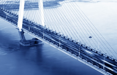 City at dusk, aerial view of the bridge. Stock Photo - 12103772