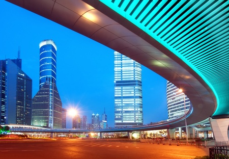 Megacity Highway at night with light trails in shanghai china. Stock Photo - 12103778