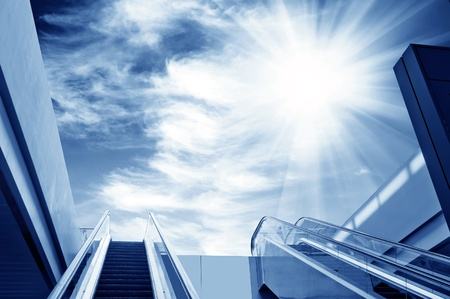 reach: escalator to the sky, urban fantasy landscape,abstract expression