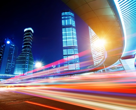 the light trails on the modern building background in shanghai china  Stock Photo - 12678988