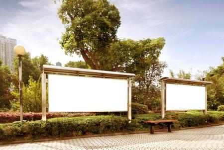 billboard posting: blank billboard in the public park