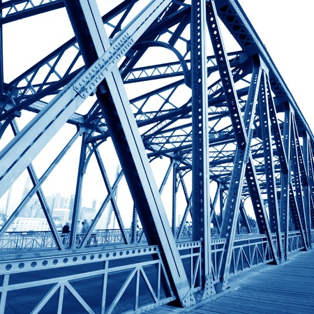 Support above the bridge, steel structure close-up   photo