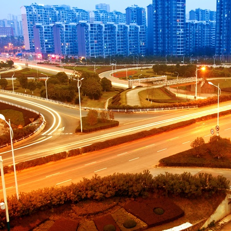 beautiful light trail at the busy highway Stock Photo - 12674263