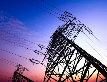 high voltage post High-voltage tower sky background  Stock Photo - 12674260