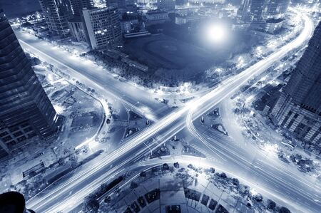expressway: The trajectory of the road intersection at night