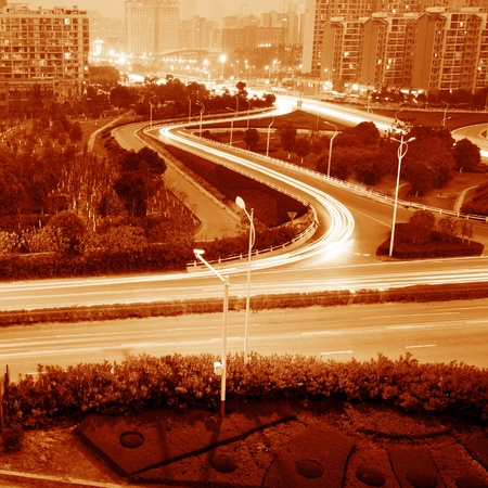 beautiful light trail at the busy highway Stock Photo - 12729037