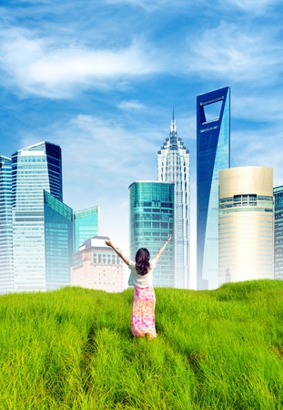 From the prairie toward the big city, beautiful girls back  Stock Photo - 12674268