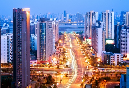 night traffic: Aerial view of city night