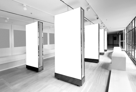 exhibition: Gallery Interior with empty frames on wall