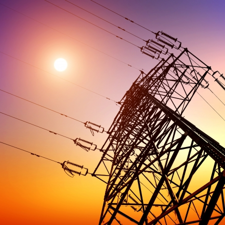 high voltage post High-voltage tower sky background  Stock Photo - 12674240