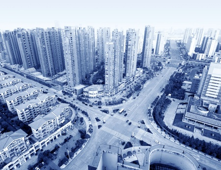 huang pu: Aerial view of Shanghai city