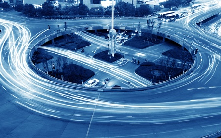 interchange: Overpass of the light trails, beautiful curves  Stock Photo