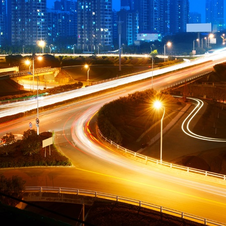 beautiful light trail at the busy highway Stock Photo - 12891641