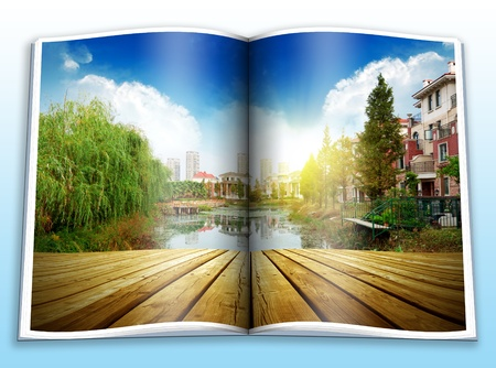 Pictures of the park, the lake platform and sunset Stock Photo - 12899305