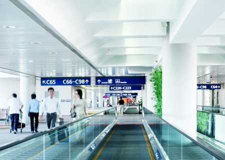 bank interior: Interior of the shanghai airport,modern building concept. Editorial