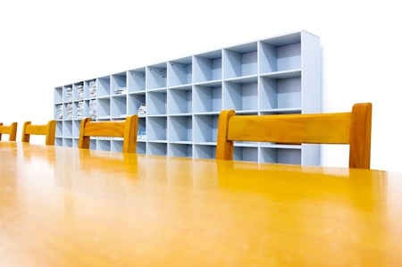 Library shelves, a large number of books. photo