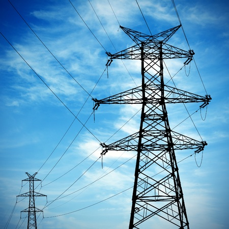 electrical energy: high voltage post.High-voltage tower sky background.