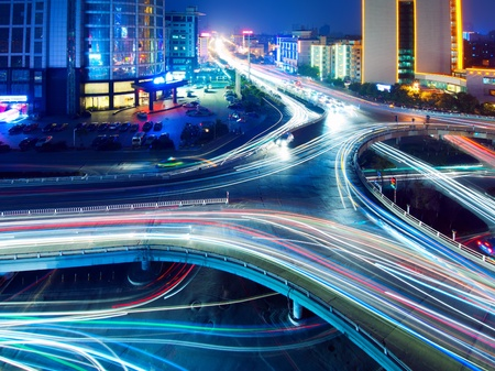 Overpass of the light trails, beautiful curves  Stock Photo