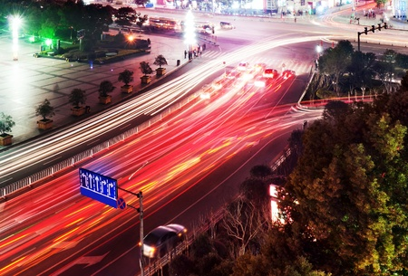 night traffic: light trails on the street in shanghai ,China.