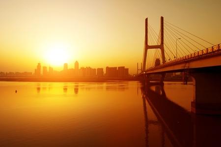 Sunset clouds below the bridge, in China Jiangxi photo